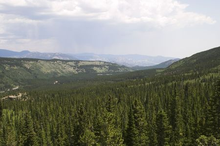 valley below: The valley below Bear Lake in Rocky Mountain National Park.