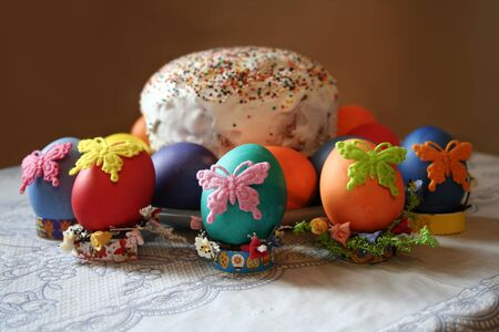 pasch: Easter cakes and eggs on Easter