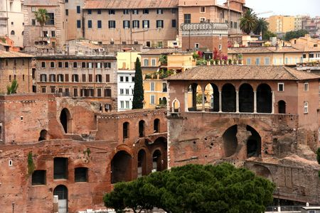 architectural architectonic: Red tiled roofs and old town centre of Rome, Latium, Italy
