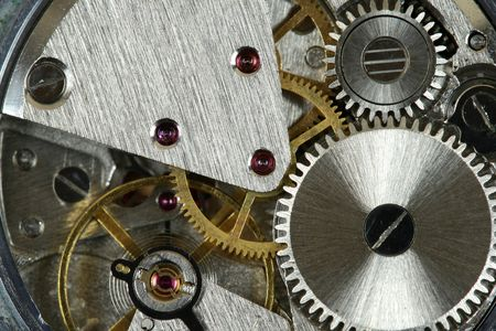 Small watch mechanism close-up. Steel clock works. Stock Photo - 2657074