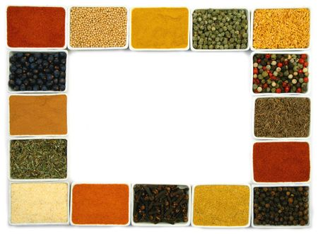 Colorful spices in rectangular ceramic containers - beautiful kitchen frame.