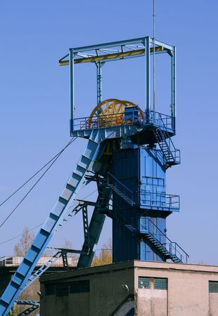 silesia: Coal mine - shaft tower. Famous industrial region of Poland - Silesia.