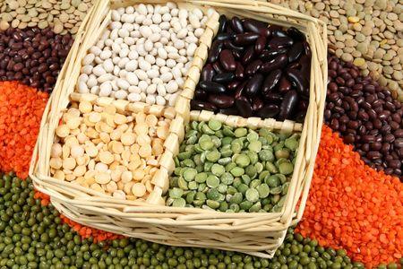 Cuisine choice. Cooking ingredients. Beans, peas, lentils. Stock Photo