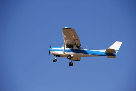 small plane: Small single engine prop airplane. Air transporation.