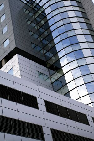 highriser: Super modern skyscraper building abstract. High rise architecture. Stock Photo