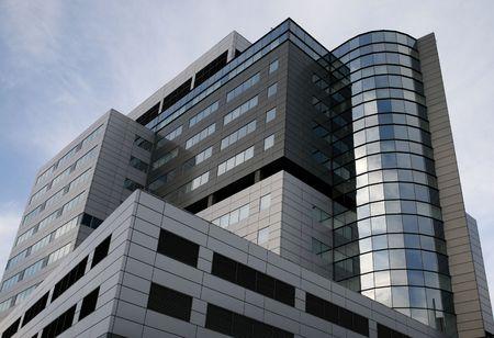 Super modern skyscraper office building. High rise architecture. Stock Photo
