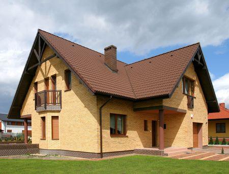 Nieuwe bakstenen muur huis in Polen, Europa Stockfoto