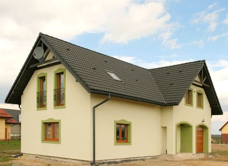 New beautiful house in Poland with a satellite dish