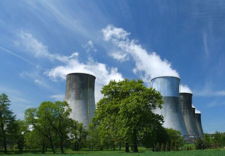 Gigantic power plant in Poland. Industrial structure landscape. photo