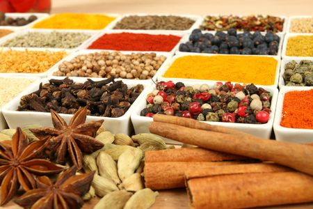 food additives: Variety of  spices - whole diversity of various natural food additives Stock Photo