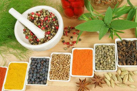 food additives: Variety of herbs and spices - whole diversity of various natural food additives Stock Photo