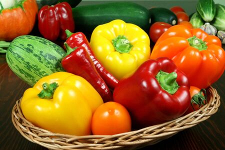 Fresh vegetables in basket on the table. Stock Photo - 3566670