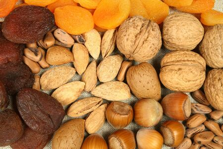 Walnuts, hazelnuts, pine nuts and almonds. Dry fruit: dried peaches.