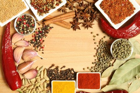 Spices, herbs and vegetables. Colorful natural food ingredients. Stock Photo