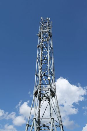 the antennae: GSM telecommunication tower. Antennae on a steel structure.