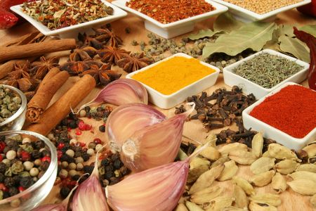 herbs de provence: Spices, herbs and vegetables. Colorful natural food ingredients. Stock Photo