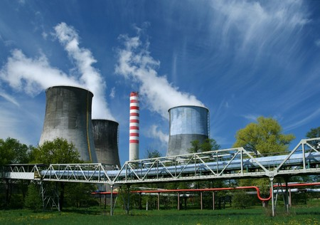 vapour: Gigantic power plant in Poland. Industrial structure landscape. Stock Photo