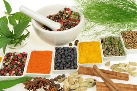 herbs de provence: Whole variety of colorful spices. Assortment of cuisine ingredients in ceramic containers.