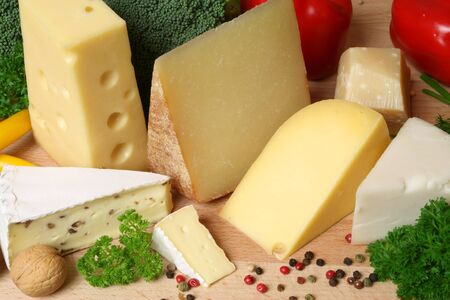 brie: Variety of cheese: camembert, gouda, brie with nuts, parmesan, goat, sheep and other hard cheeses
