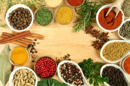 Various spices selection. Food ingredients and aromatic additives. Natural dried cuisine elements.