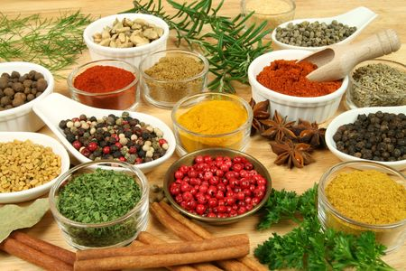 natural selection: Various spices selection. Food ingredients and aromatic additives. Natural dried cuisine elements.