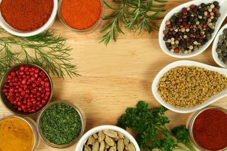 Various spices selection. Food ingredients and aromatic additives. Natural dried cuisine elements. Stock Photo - 4794596