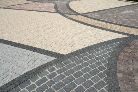 Sett blokken achtergrond textuur. Betegelde, kleurrijke, decoratieve bestrating.