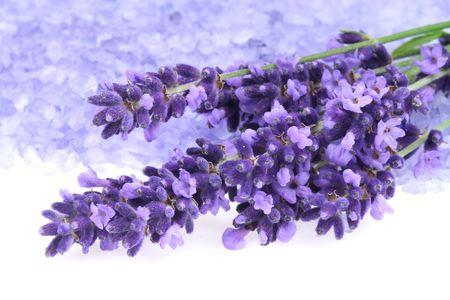 Bunch of lavender and  bath salt - beauty treatment