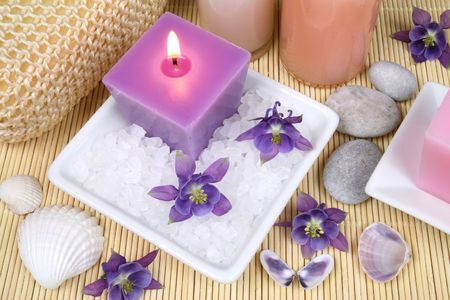 Spa resort treatment composition - flowers, candles and salt crystals Stock Photo - 5114179