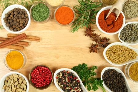 seasonings: Various spices selection. Food ingredients and aromatic additives. Natural dried cuisine elements.