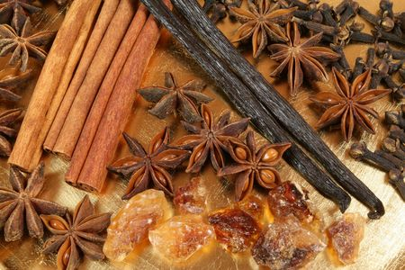 Spices - aniseed, cinnamon, vanilla and other ingredients Stock Photo - 5370892