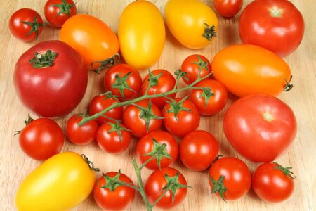 cherry varieties: All varieties of tomatos: red, orange, cherry, round and oval