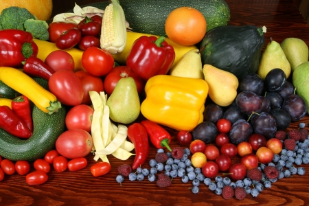 Delicious, colorful variety of fresh  fruits and vegetables Stock Photo - 5518204