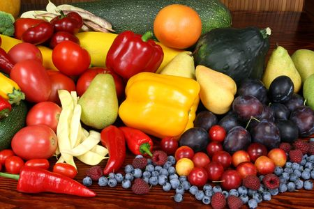 Delicious, colorful variety of fresh  fruits and vegetab