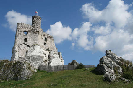mirow: Gothic knight castle ruins in Poland - Mirow fortifications. Old landmark. Stock Photo