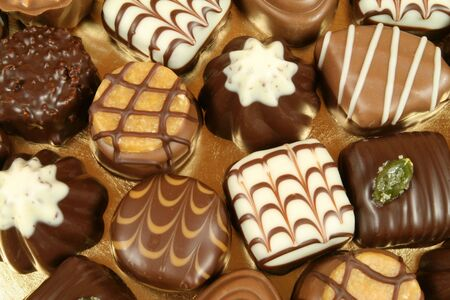 pralines: Chocolates selection. Delicious truffles and pralines. Assorted Swiss expensive sweets.