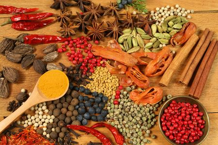 cardamon: Spices - pepper, aniseed, cinnamon, cardamon and other ingredients