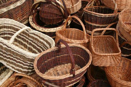 Wicker baskets choice. Beautiful handicraft at a market in Poland. photo