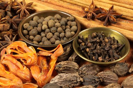 cardamum: Various spices selection. Food ingredients and aromatic additives. Natural dried cuisine elements.