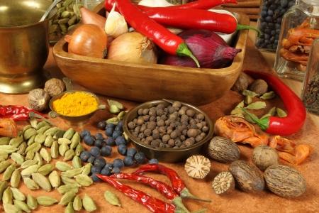 Specerijen en kruiden selectie. Aromatische bestand delen en natuurlijke levensmiddelen additieven. Keuken elementen. Stockfoto
