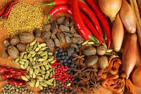 Kruiden en specerijen selectie. Aromatische ingrediënten en natuurlijke levensmiddelen additieven. Keuken elementen.
