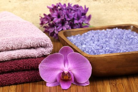 Spa relaxation composition - bath soap, towels, orchid flower Stock Photo - 6829656