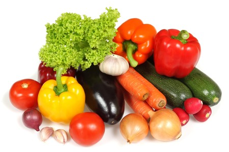 Verse groenten geïsoleerd op witte achtergrond Stockfoto