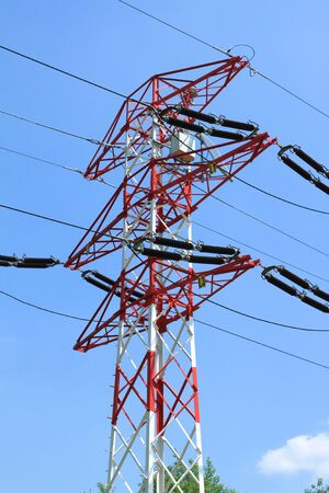 High voltage electricity pylons in Poland. European electric network. photo