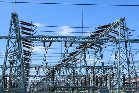 substation: Electricity and power generation industry in Poland. Voltage transformation substation.