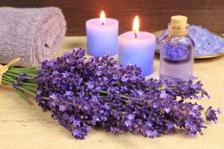 Spa resort and wellness composition - lavender flowers,  sea salt