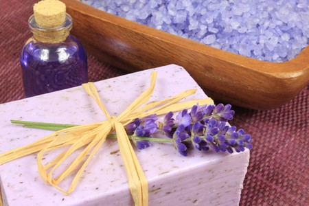 Lavender composition - spa and wellness resort. Liquid and solid soap.