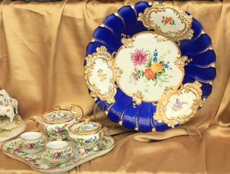 Art nouveau porcelain plate and coffee set in Czech Republic - old antiques photo