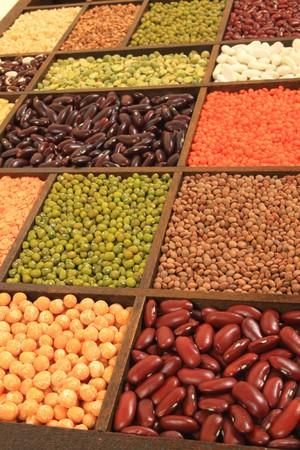 legumes: Cuisine choice. Cooking ingredients. Beans, peas, lentils. Stock Photo