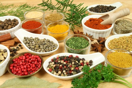 fenugreek: Various spices selection. Food ingredients and aromatic additives.  Stock Photo